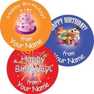 Personalised 25mm round birthday stickers