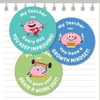 Growth Mindset Cute Brain stickers from Teacher Stickers