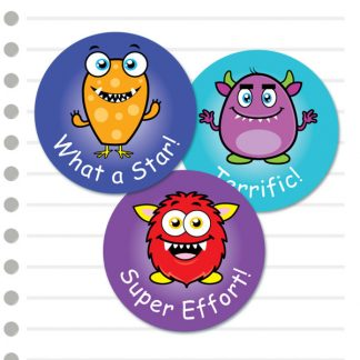 Round Cute Monster themed stickers from Teacher Stickers