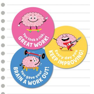 Growth Mindset cute brains from Teacher Stickers