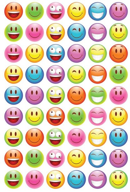 20mm Colourful smiley stickers