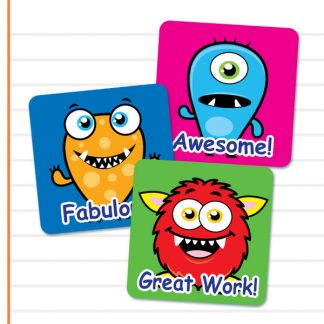 Square Cute Monster stickers from Teacher Stickers